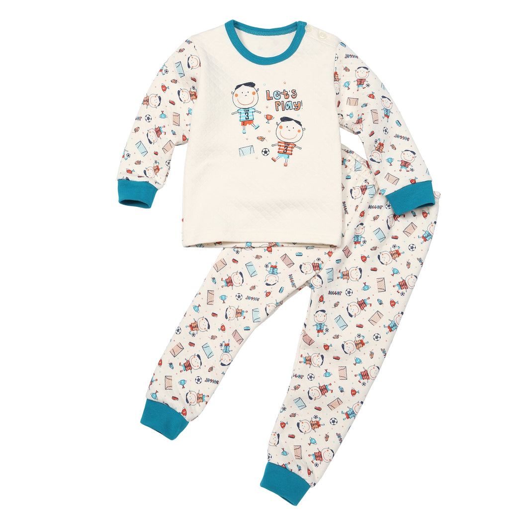 2-Piece Quilted Thermal Pajama Set - Soccer