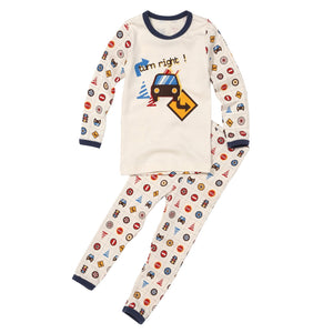2-Piece Long Sleeve Slim Pajama Set - Road Sign