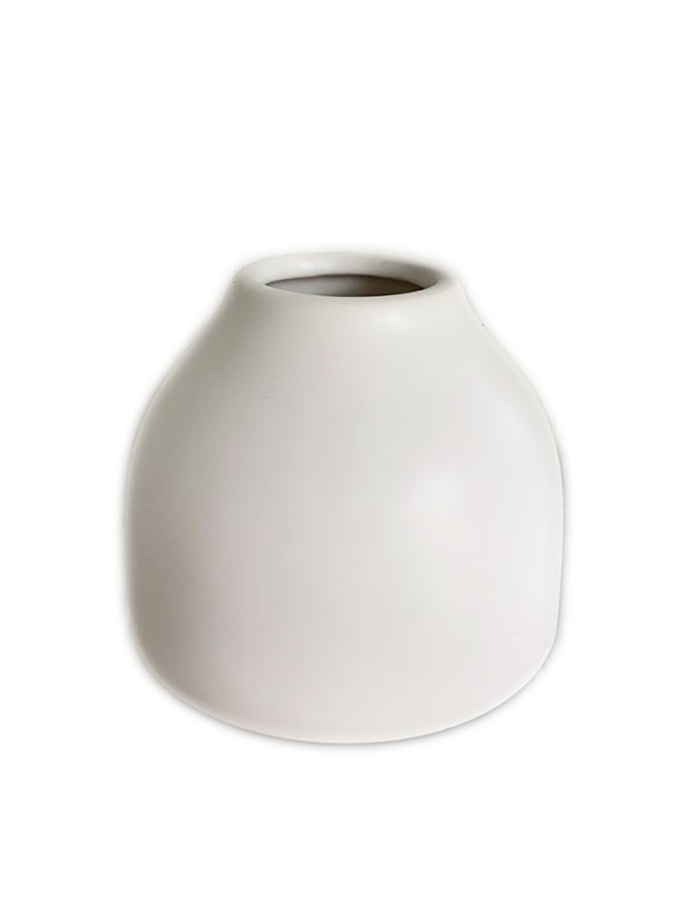 Vase - White Ceramic Squat