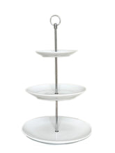 Load image into Gallery viewer, White 3 Tiered Cake Stand