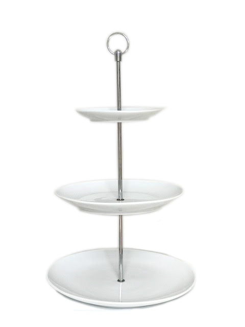 Cake Stand - White 3 Tiered