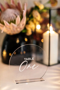 Table Numbers - Clear & White