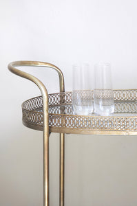 Drinks Trolley - Gold Vintage Immoveable