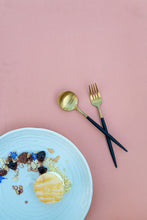 Load image into Gallery viewer, Cutlery - Black & Gold Dessert Spoon