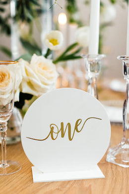 Table Numbers - White & Gold