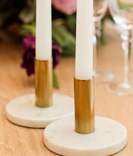 Load image into Gallery viewer, Candlestick - Marble & Gold