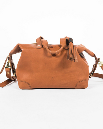 Leather handbag with crossbody strap
