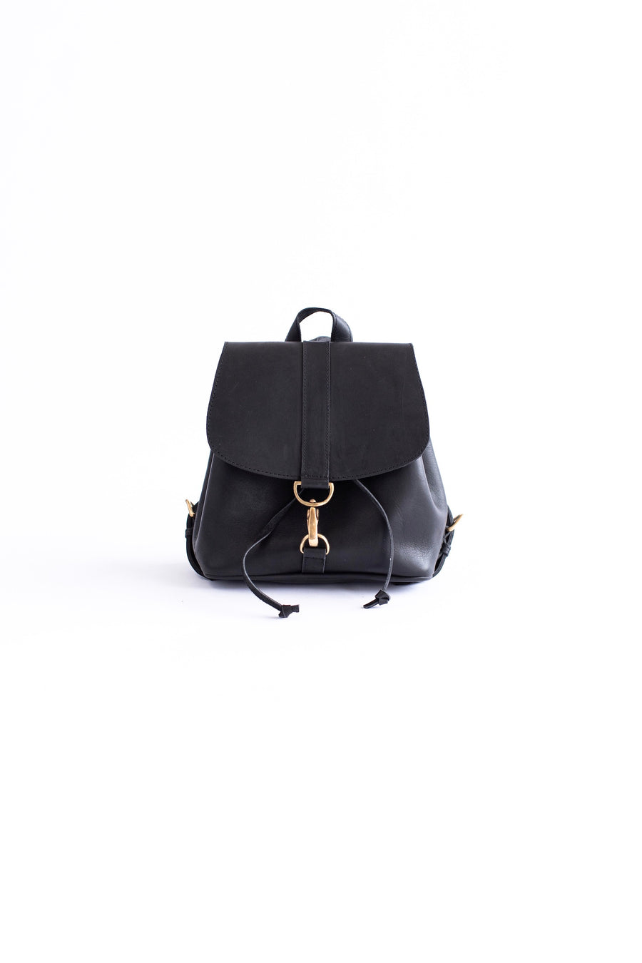 black mini leather backpack
