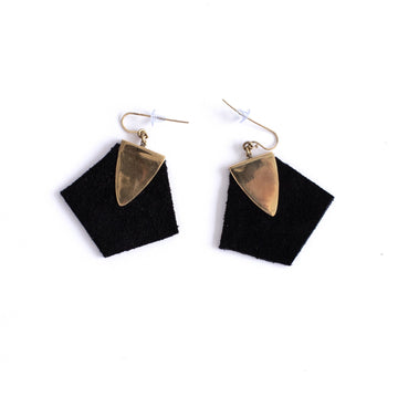 Chloe earrings, suede and brass