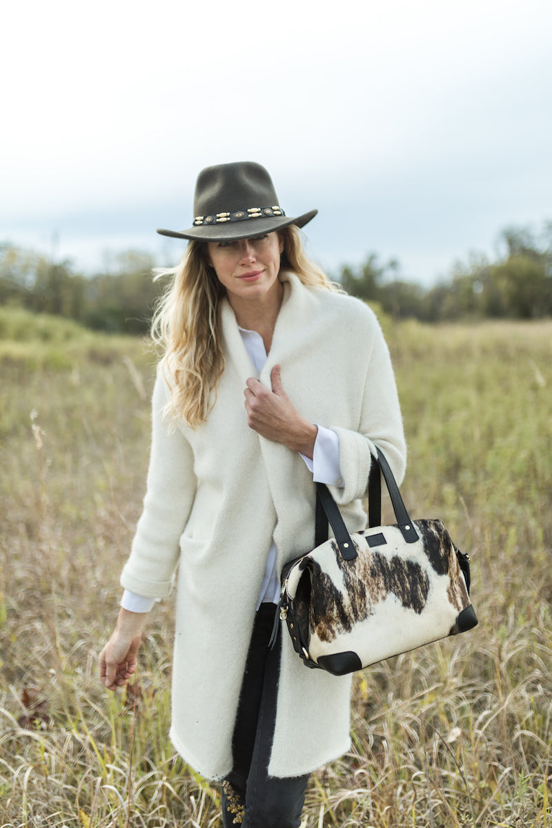 Ellen Handbag, Black Cow Hair