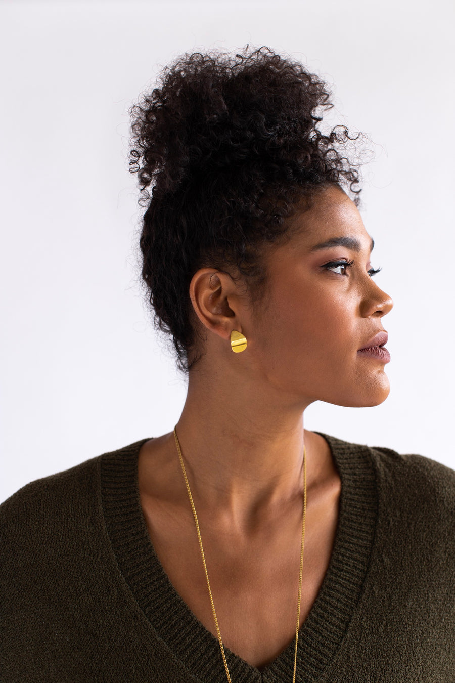 Margo Earrings, brass curved earrings