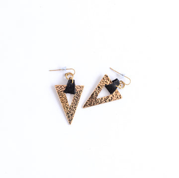 triangle brass earrings, trinity earrings