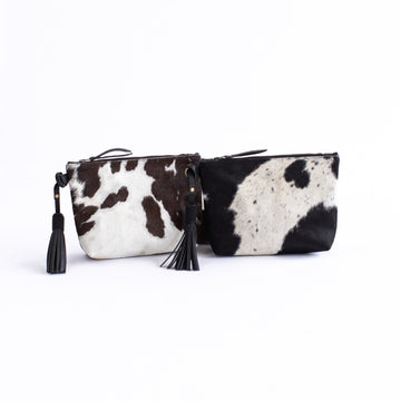 Keely Clutch, Black Cow Hair