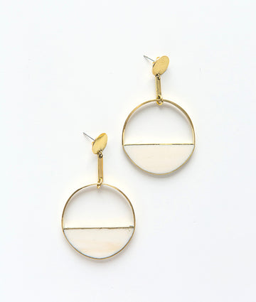 Hilary Earrings, brass and bone