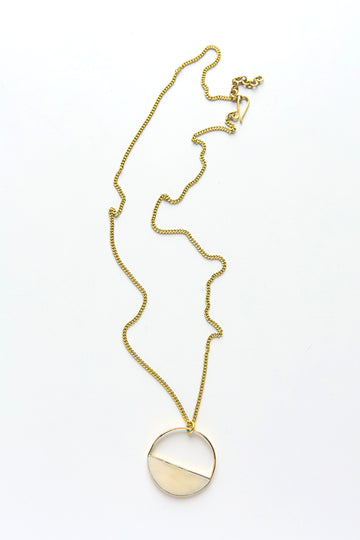 Hilary necklace, brass and bone