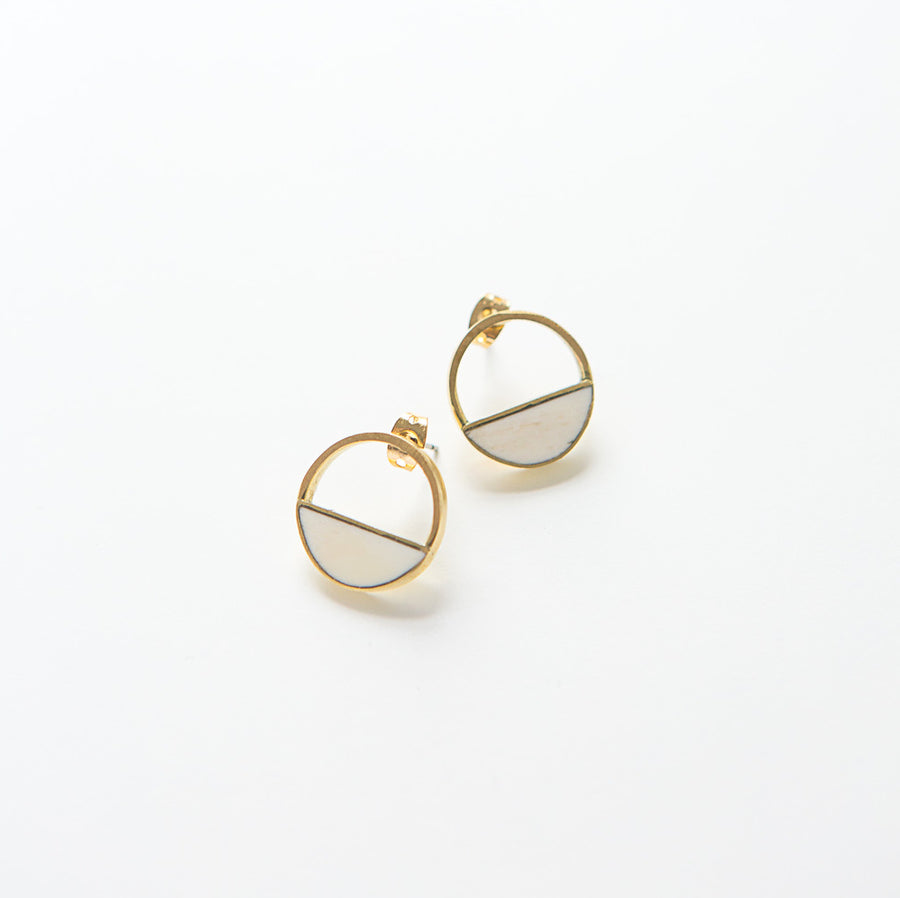 Hilary Studs, bone and brass
