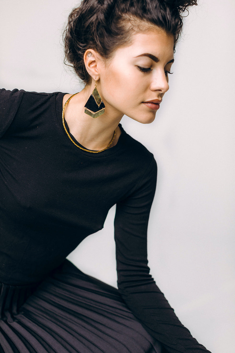 Ling horn and brass earrings