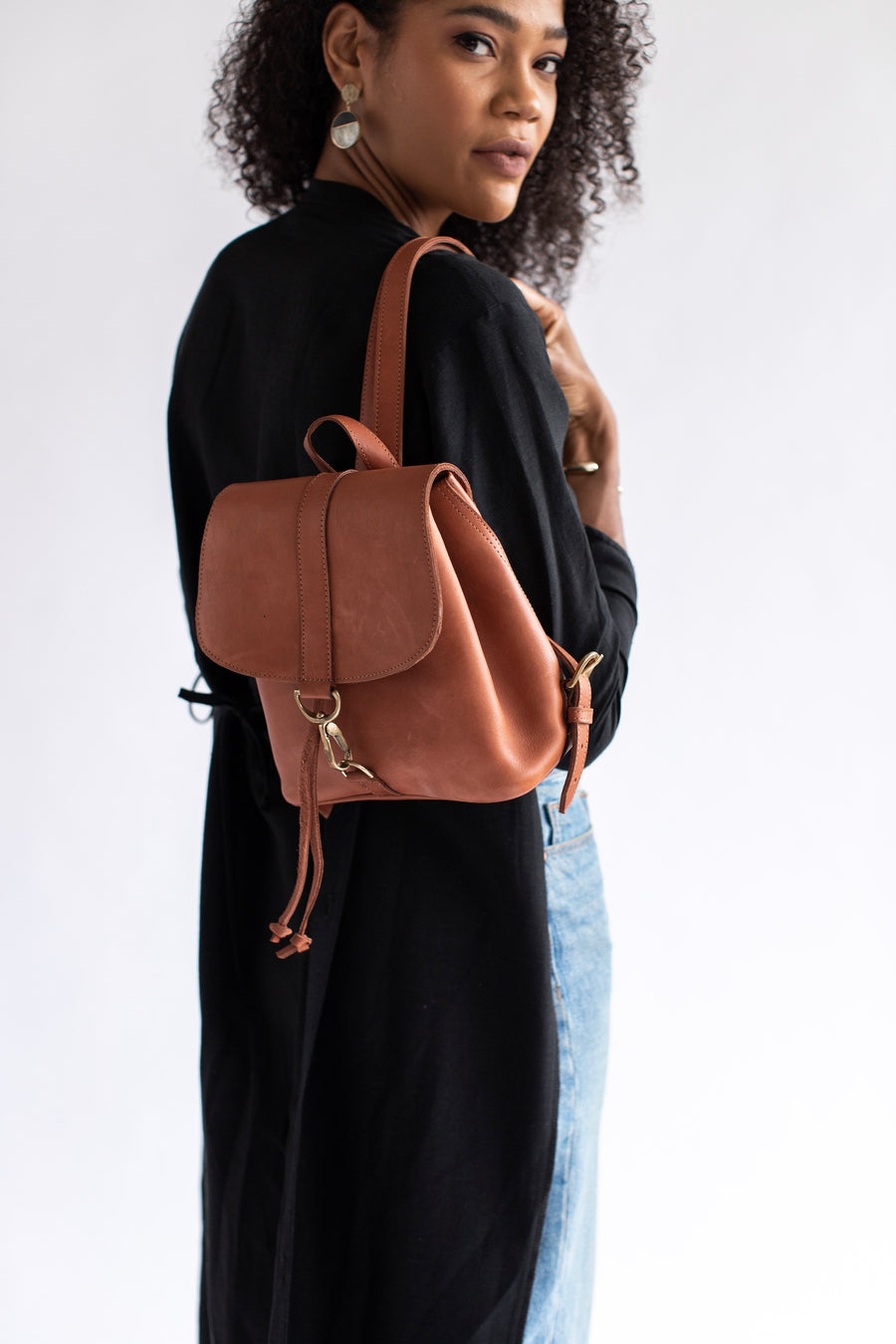 brown leather mini backpack