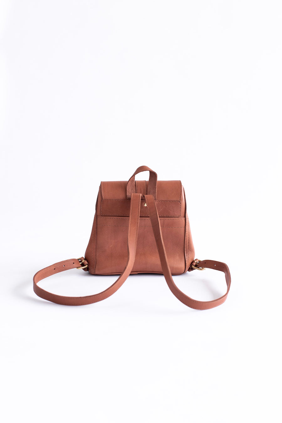 brown mini leather backpack