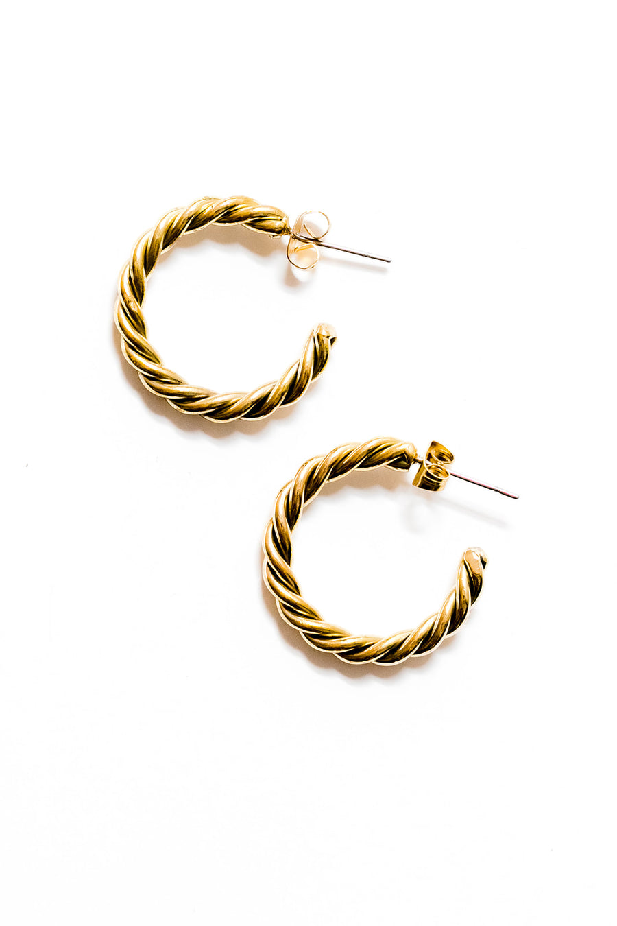 spiral earrings brass