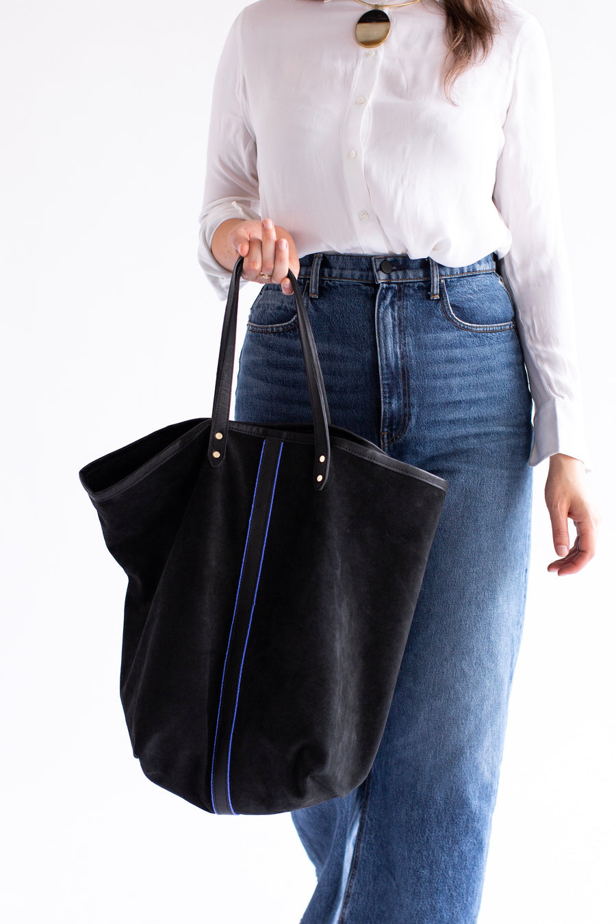 oversized black suede tote