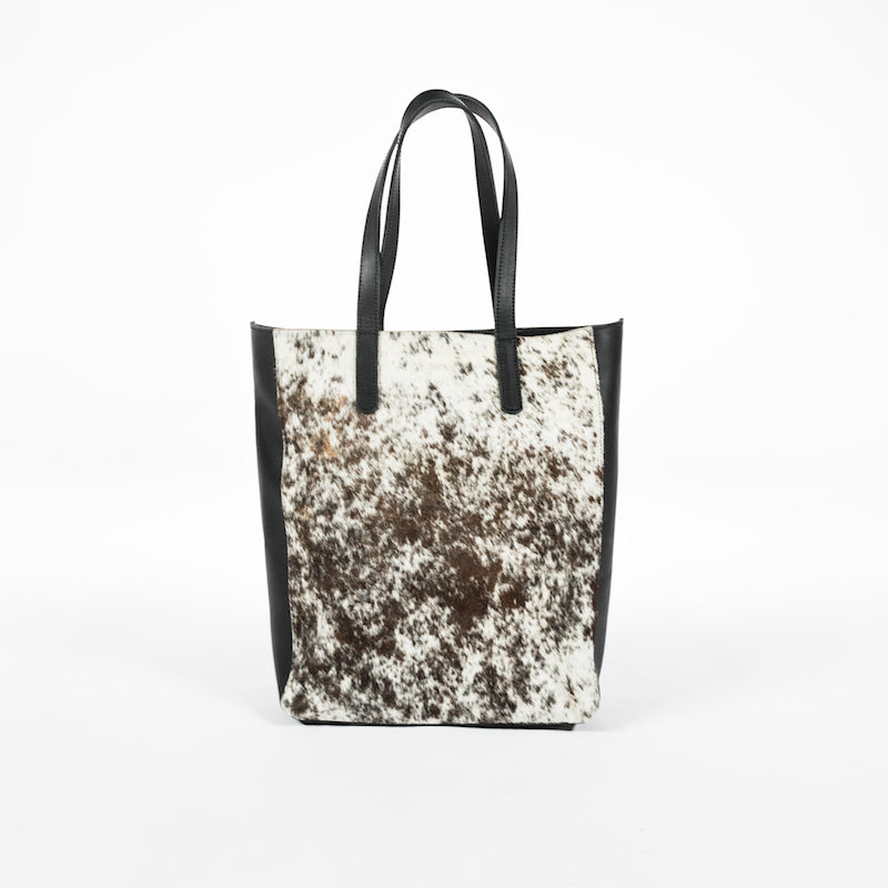 cow hide leather tote bag