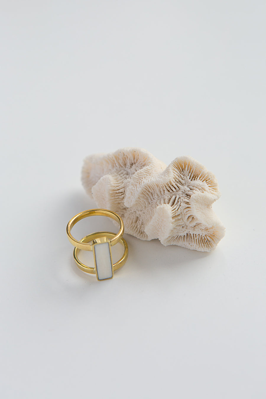 Eliza ring, bone and brass