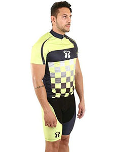 Core Athletics Apex Cycling set chequered Neon, silicon chamois padded shorts, Cycling wear, Cycling Jersey Reflective