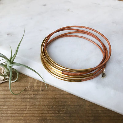 stack of 4 leather and gold brown bangles