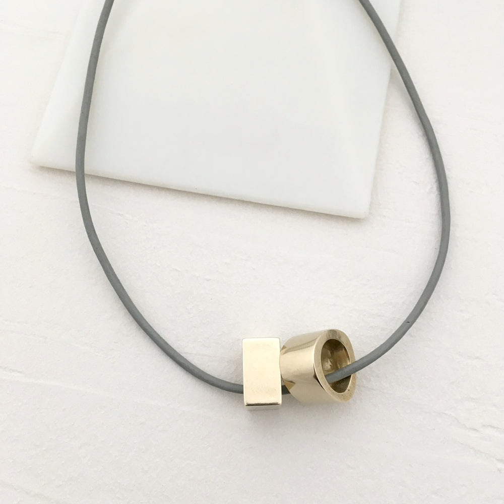 Circle Square Necklace in Brass