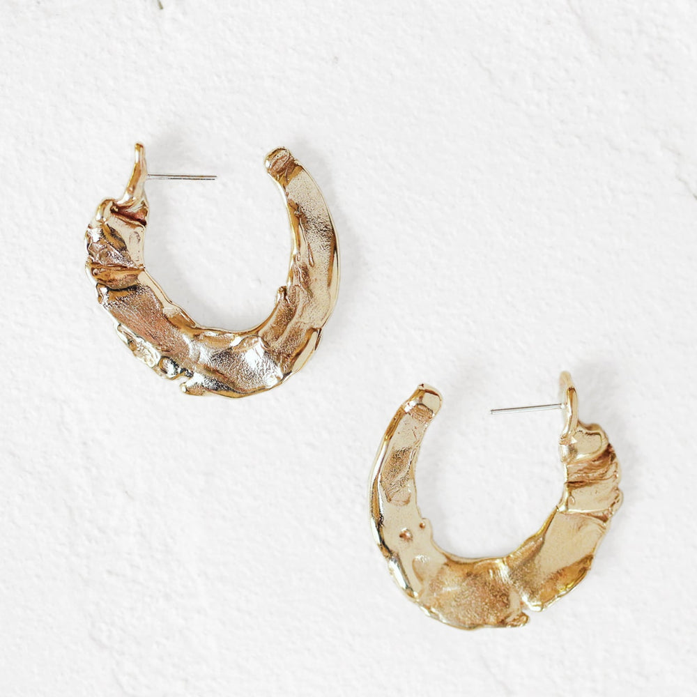 Molten Hoop Earrings in Brass