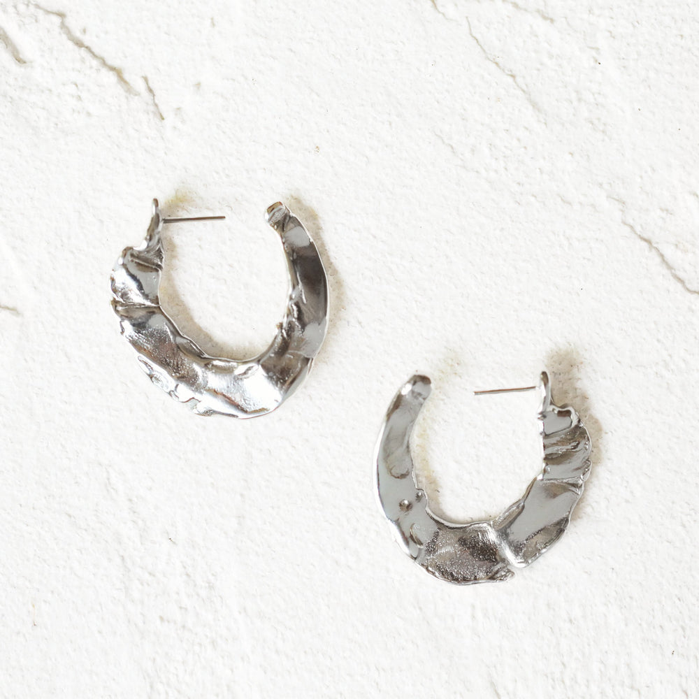 Molten Hoop Earrings in Silver