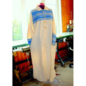 Collared Nightshirt with blue striped yoke and cuffs.