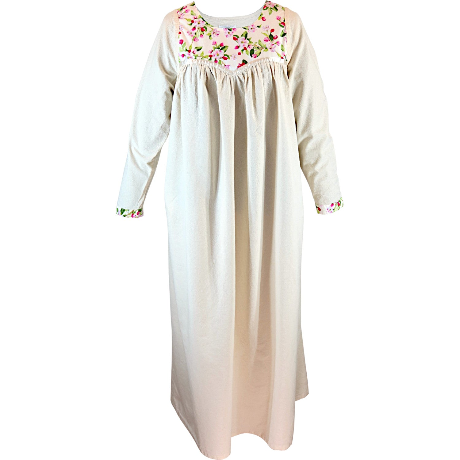 Cotton gown, long sleeves, Apple blossom pattern, front view.