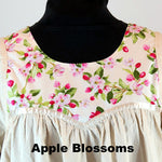Cotton gown yoke, front view, Apple Blossom pattern.
