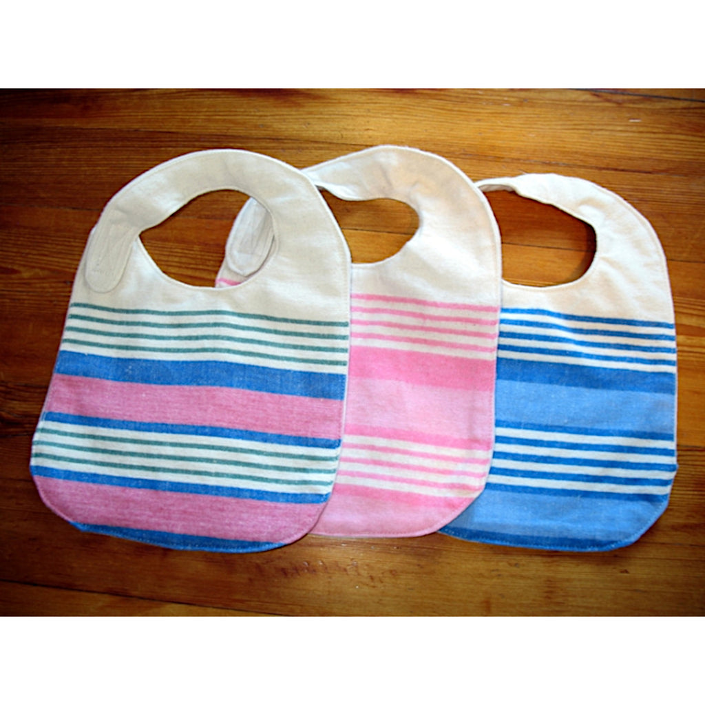 Three bibs for infants, multi, pink and blue coloured stripes.