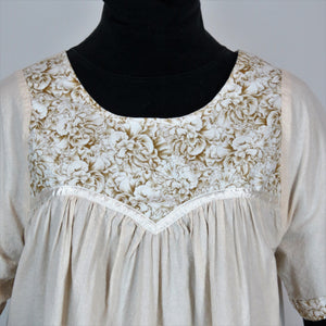 COTTON GOWN, SEPIA BLOSSOMS