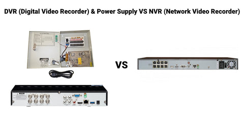 Back of Digital Video Recorder (DVR) & Power Supply vs PoE Network Video Recorder (NVR)