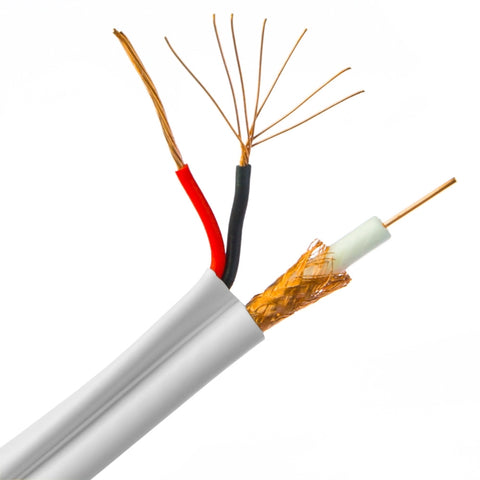 Stripped siamese wire with coaxial and 2 conductor power cable