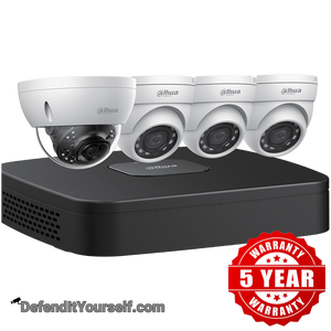 Dahua (1) 4K Starlight Dome (3) 4 MP Eyeball IP Security Cameras with 4-channel 4K NVR Kit w/ 2TB HDD N448D42 - DefendItYourself.com Kit
