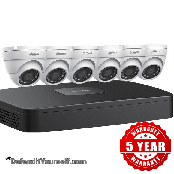 Dahua (6) 4 MP Eyeball IP Security Cameras with 8-channel 4K NVR Kit w/ 2TB HDD N484E62 - DefendItYourself.com Kit
