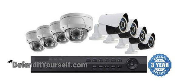 Hikvision OEM 16 Channel NVR 8 IP Security Camera PoE Kit with 4MP Domes or Bullets - DefendItYourself.com Kit