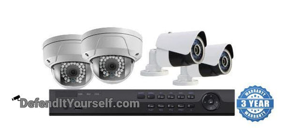Hikvision OEM 4 Channel NVR 4 IP Security Camera PoE Kit with 2MP Domes or Bullets - DefendItYourself.com Kit