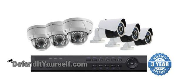 Hikvision OEM 8 Channel NVR 6 IP Security Camera PoE Kit with 2MP Domes or Bullets - DefendItYourself.com Kit