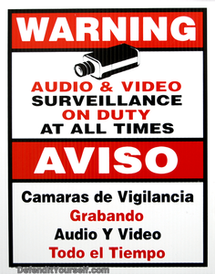 "Warning Surveillance Sign 11"" x 11"" - DefendItYourself.com Accessories"