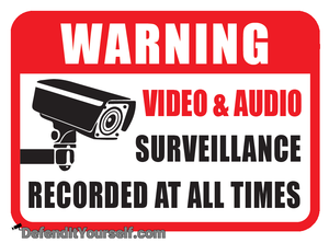 "Warning Surveillance Vinyl Sticker 3.5"" x 2.5"" - DefendItYourself.com Accessories"