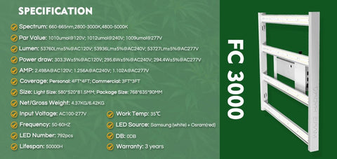 Mars Hydro FC 3000 LED Grow Light Specifications