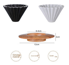 Load image into Gallery viewer, Ceramic V60 Style Coffee Dripper with Wooden Bracket