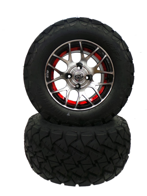 "Set of (4) 12"" Red Pursuit on 22"" Timberwolf"