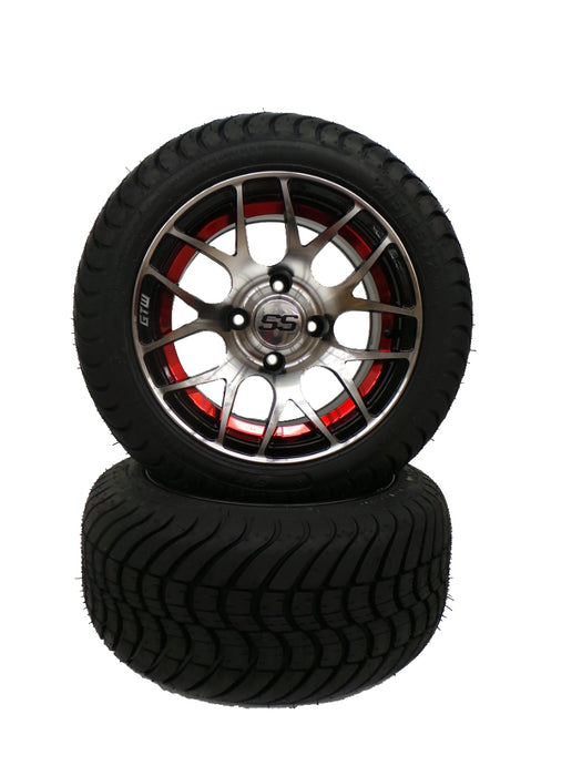 "Set of (4) 12"" Red Pursuit on Cobra Street Tire"